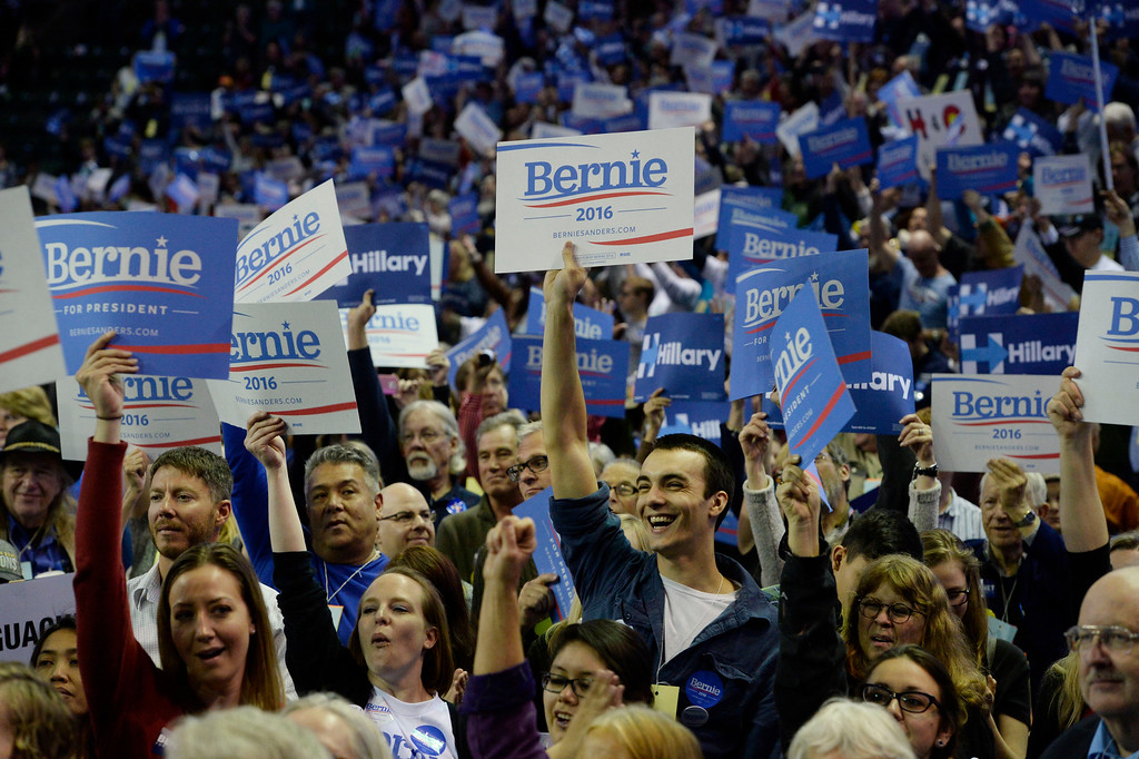 . Bernie Sanders supporters at the Colorado Democratic State Convention at the Budweiser Events Center April 17, 2016. (Photo by Andy Cross/The Denver Post)