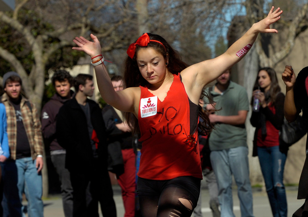 ". Morgan Renteria dances as part of a ""One Billion Rising\"" event at Diablo Valley College in Pleasant Hill, Calif. on Thursday, Feb. 14, 2013. (Kristopher Skinner/Staff)"