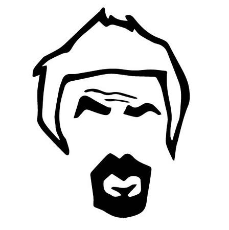 head logo with outline hair
