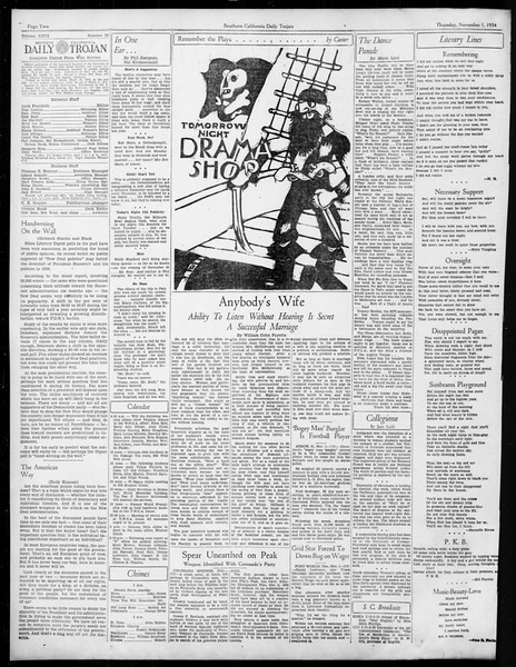 Daily Trojan, Vol. 26, No. 29, November 01, 1934
