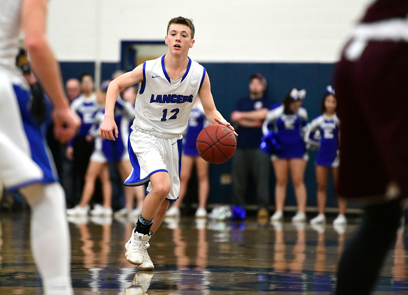1/18/2019 Mike Orazzi   Staff Bristol Eastern's Elijah Parent (12) during Friday night's boys basketball game with Bristol Central at Eastern.