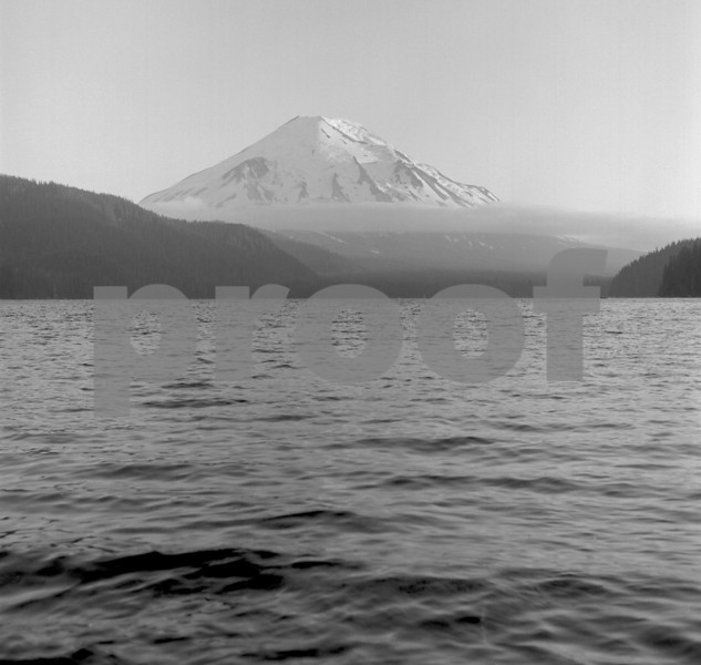 A 1974, pre-eruption, view looking southwest across Spirit Lake to Mount St. Helens.
