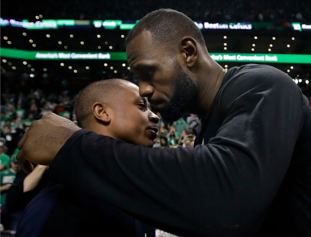 . Boston Celtics guard Isaiah Thomas, left, and Cleveland Cavaliers forward LeBron James speak after Game 5 of the NBA basketball Eastern Conference finals, on Thursday, May 25, 2017, in Boston. The Cavaliers won 135-102. (AP Photo/Elise Amendola)