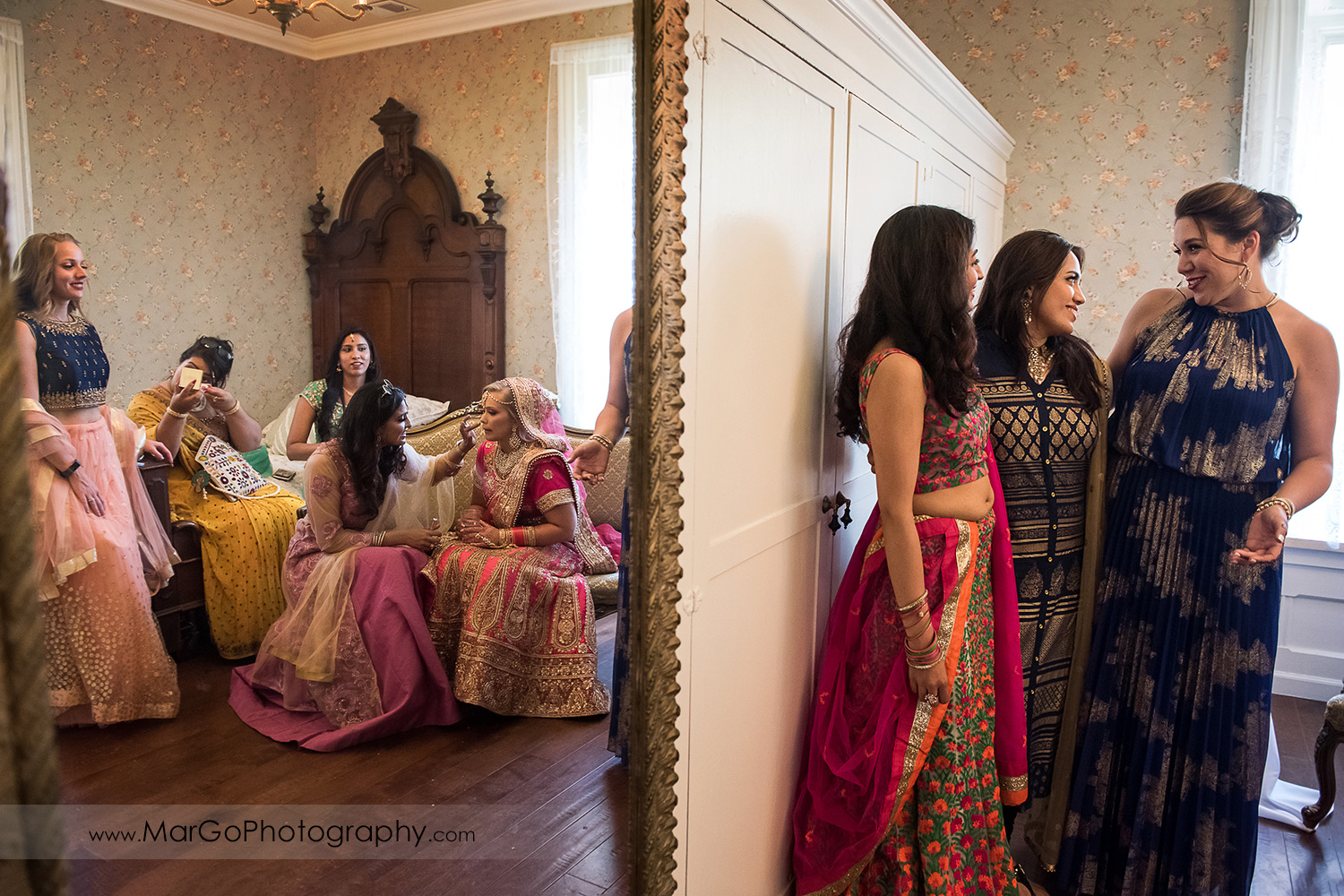 last bridal touchups before Indian wedding ceremony at Elliston Vineyards in Sunol