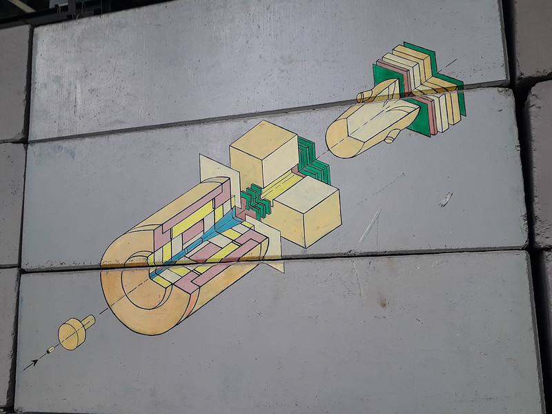 Detailed architectural grafitti