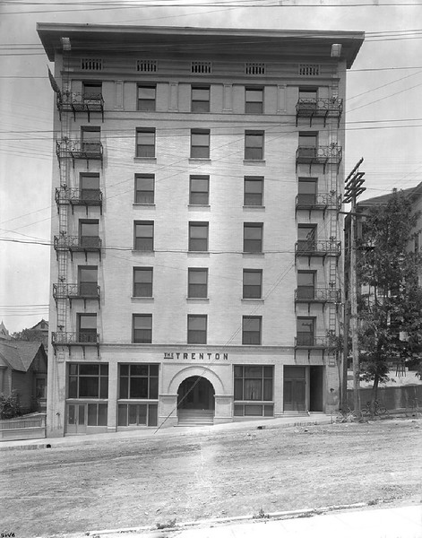 Exterior view of the Trenton Hotel on Olive Street, north of 5th Street, Los Angeles, ca.1880-1900
