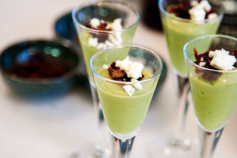 Serve Chilled Plum Avocado Soup with crumbled Feta, Bacon Bits, and Crushed Red Chili Pepper.