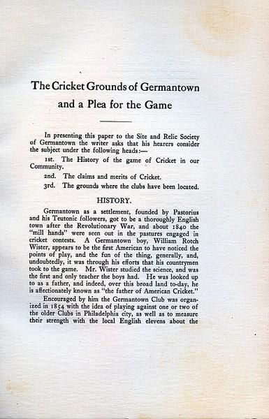 Historic Address on Germantown Cricket