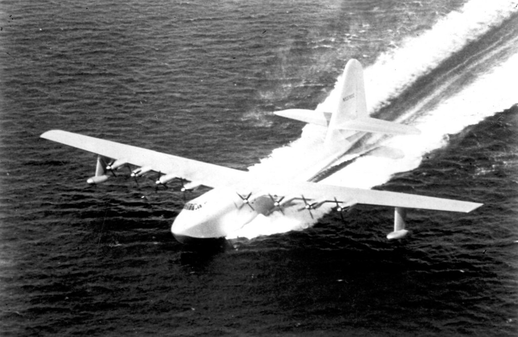 ". The historic Hughes Flying Boat, affectionately call the ""Spruce Goose,\"" took its one-and-only flight on Nov. 2, 1947.   Los Angeles Daily News file photo"