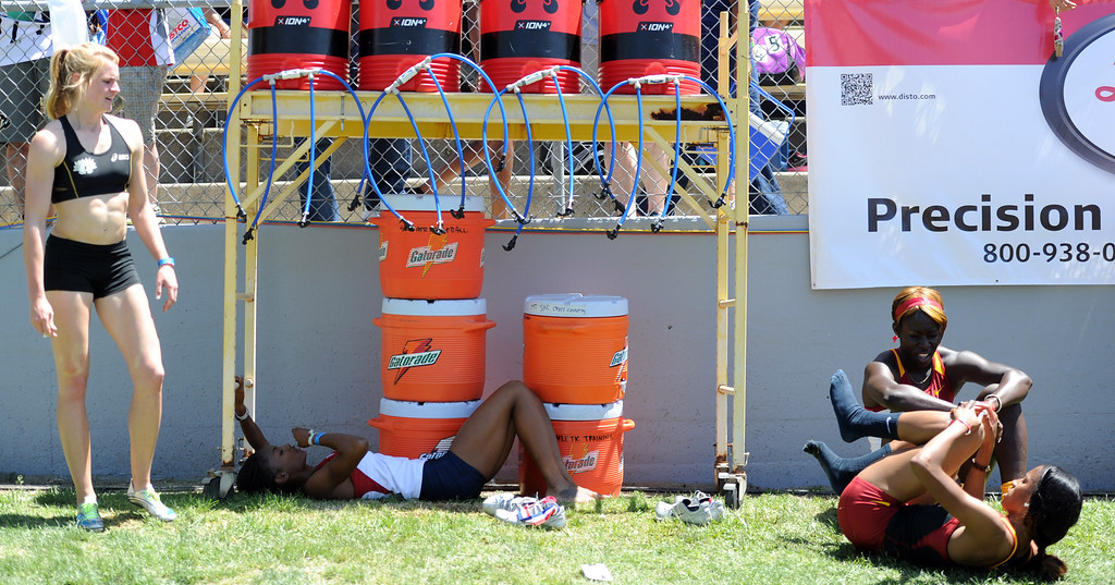 . Athletes cool off after competing during the Mt. SAC Relays in Hilmer Lodge Stadium on the campus of Mt. San Antonio College on Saturday, April 20, 2012 in Walnut, Calif.    (Keith Birmingham/Pasadena Star-News)