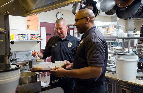 01/30/20 Wesley Bunnell | StaffrrThe annual SOUPerBowl to benefit the Friendship Centers Soup Kitchen took place on Thursday Jan 30, 2020 at E.C. Goodwin Technical School. New Britain Fire Inspectors Joe Dicicco and Ryan Stewart put together a tray of samples for the judges.