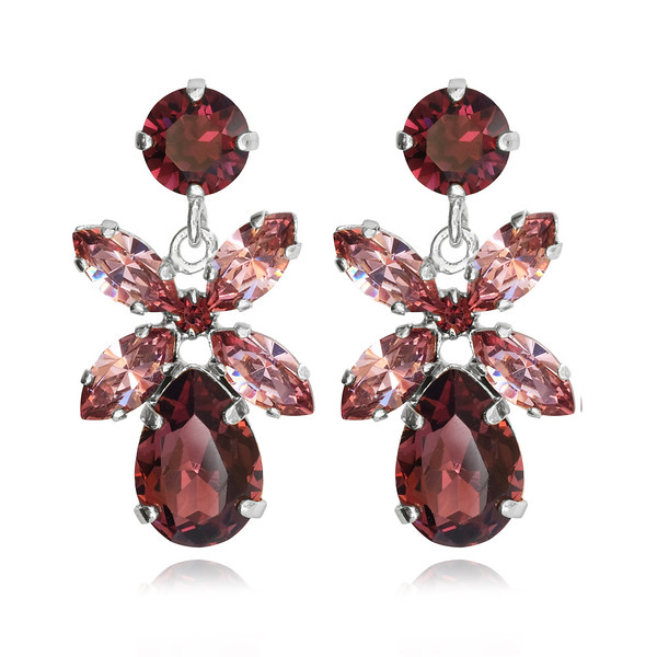 Mini Dione Earrings / Burgundy + Rose Blush / Rhodium