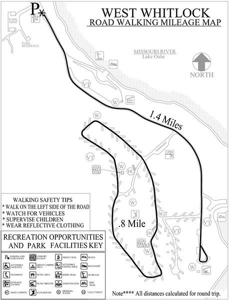 West Whitlock Recreation Area (Road Walking Map)