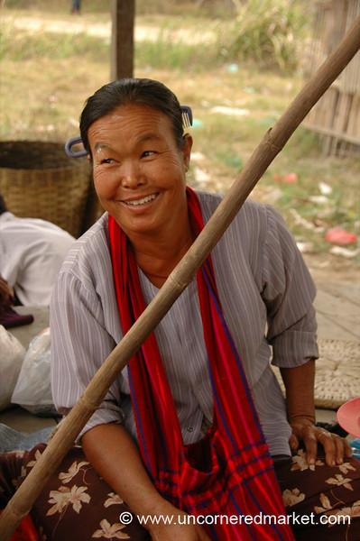 Happy Woman at Nam Pan Market - Inle Lake, Burma