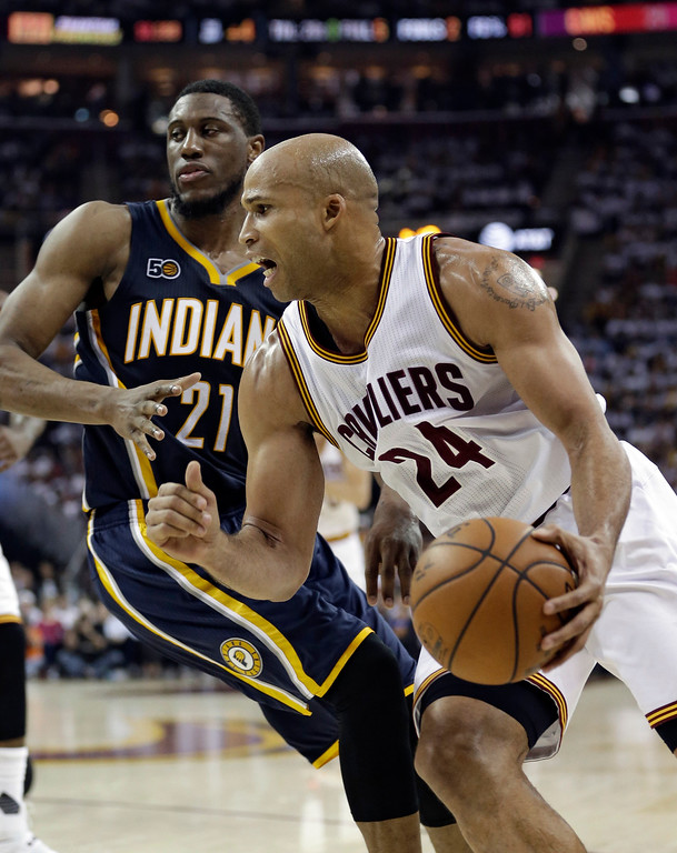 . Cleveland Cavaliers\' Richard Jefferson (24) drives past Indiana Pacers\' Thaddeus Young (21) in the first half in Game 1 of a first-round NBA basketball playoff series, Saturday, April 15, 2017, in Cleveland. (AP Photo/Tony Dejak)