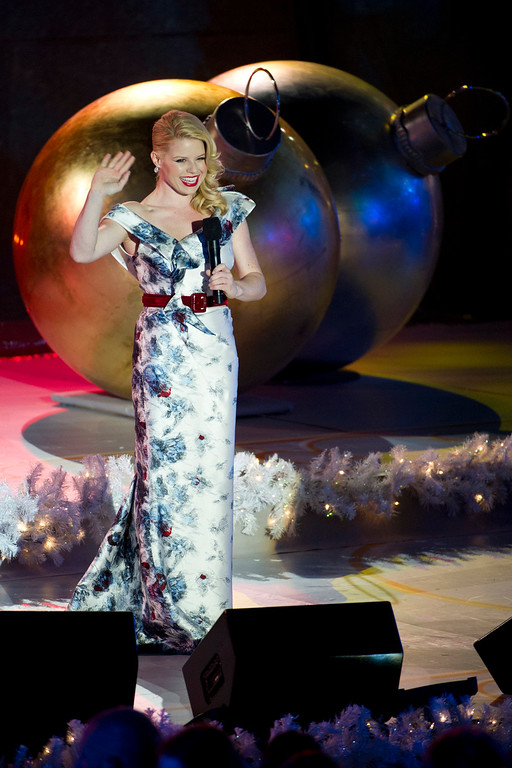 . Megan Hilty performs at the Rockefeller Center Christmas tree lighting, in New York, Wednesday, Nov. 30, 2011. (AP Photo/Charles Sykes)