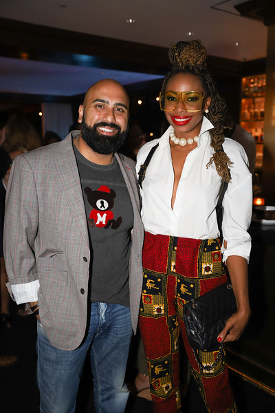 Joy Kingsley and DJ Oz. photo by Bruce Allen, Wolfgang Puck Opening Reception 2019