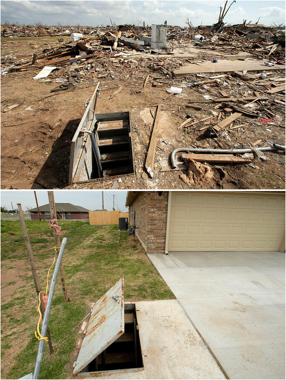 . This photo combination shows an underground shelter among tornado rubble, May 26, 2013, in Moore, Okla. top, and the shelter virtually unchanged on May 7, 2014. (AP Photo/Charlie Riedel)