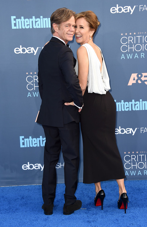 . William H. Macy, left, and Felicity Huffman arrive at the 22nd annual Critics\' Choice Awards at the Barker Hangar on Sunday, Dec. 11, 2016, in Santa Monica, Calif. (Photo by Jordan Strauss/Invision/AP)