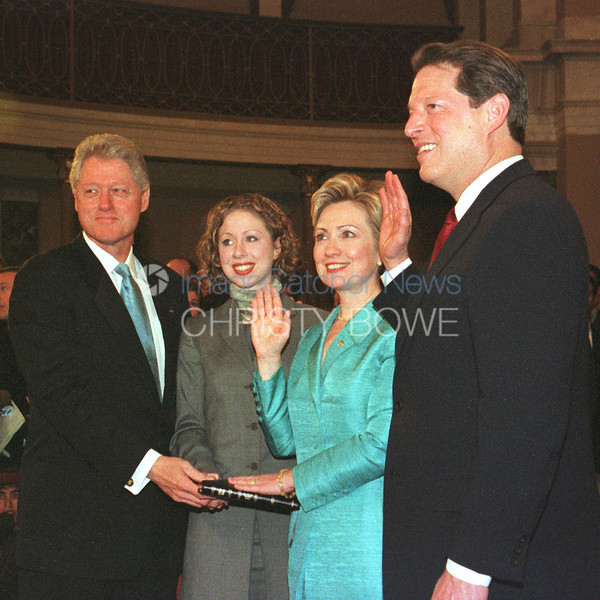 First Lady Hillary Clinton is sworn in as U.S. Senator by Vice President Al Gore.