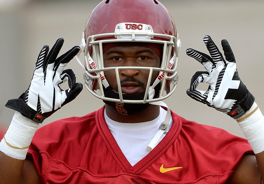 . Sophmore running back Buck Allen gestures during USC\'s final practice of the 2013 season December 18, 2013 in Los Angeles, CA.  The team flies to Las Vegas to play Fresno State in the Las Vegas Bowl on December 21, 2013.(Andy Holzman/Los Angeles Daily News)