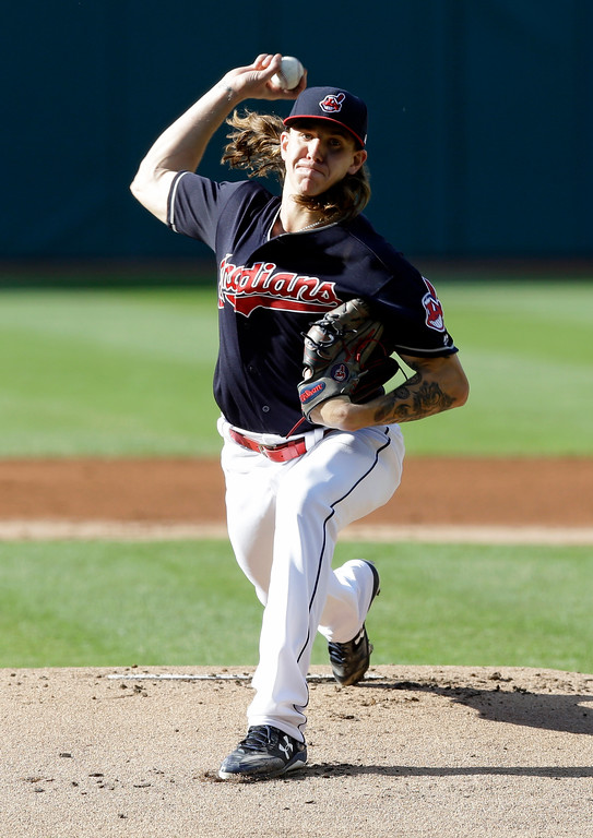 . Cleveland Indians starting pitcher Mike Clevinger delivers in the first inning of a baseball game against the Oakland Athletics, Wednesday, May 31, 2017, in Cleveland. (AP Photo/Tony Dejak)