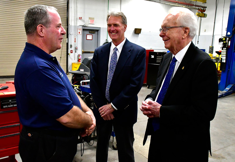 11/1/2018 Mike Orazzi | Staff Ken Crowley (right) and Tom Moran talk with Rit Dulac at Bristol Tech Thursday morning.
