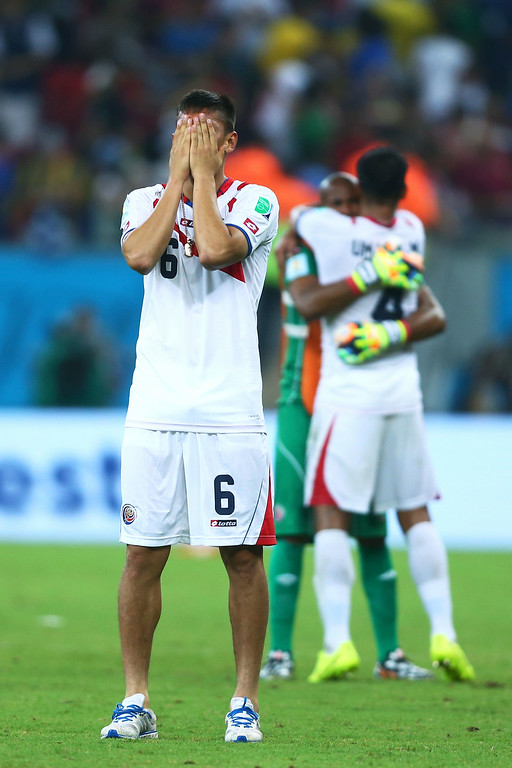 . Oscar Duarte of Costa Rica reacts after defeating Greece in a penalty shootout during the 2014 FIFA World Cup Brazil Round of 16 match between Costa Rica and Greece at Arena Pernambuco on June 29, 2014 in Recife, Brazil.  (Photo by Jeff Gross/Getty Images)