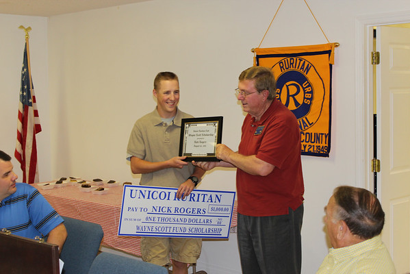 Nick Rogers Wins Scholarship from Unicoi Ruritan - August 2011