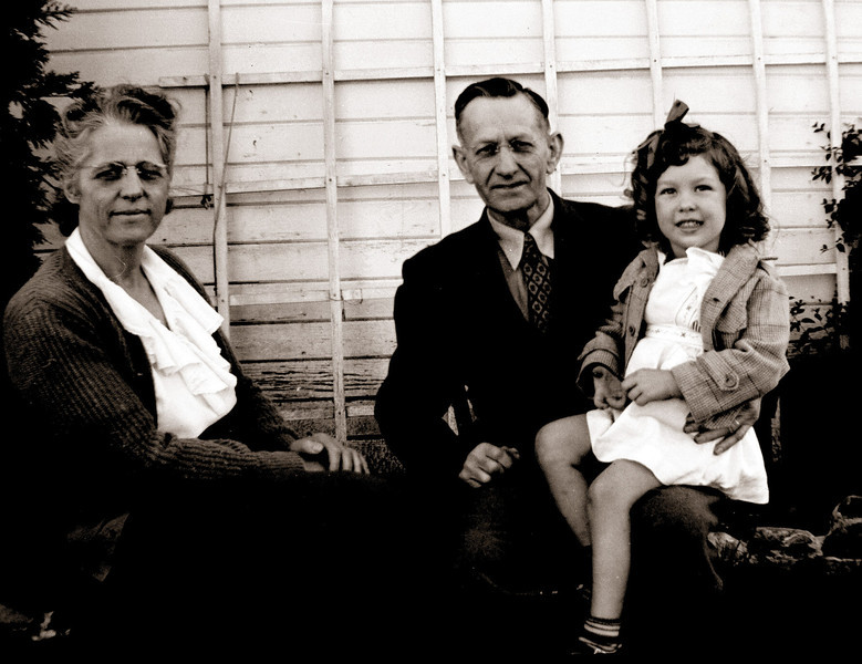 Elmer and Goldie Hopkins and their granddaughter Sherry Little, at their home at 2550 Orange Street, Martinez, California in about 1948.
