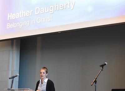 Heather Daugherty speaks at Chapel