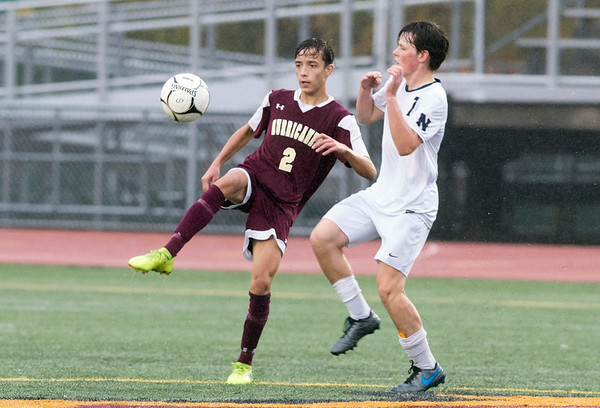 10/29/19 Wesley Bunnell | StaffrrNew Britain soccer was defeated 2-0 by Newington during a drizzle at Veterans Stadium on Tuesday afternoon. New Britain's Kevin Gottner (2) and Reed Campbell (7).