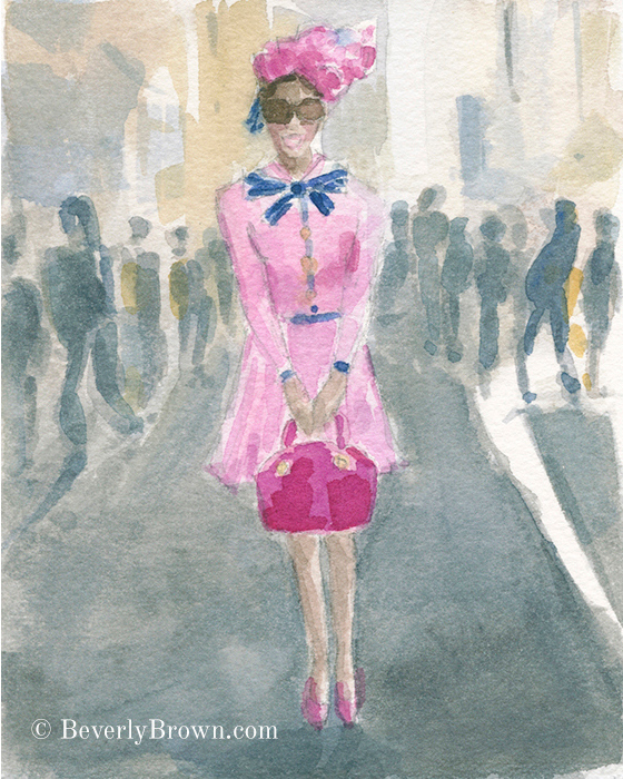 Chic Pink Suit - A whimsical watercolor sketch of New York's Easter Parade and Bonnet Festival by artist Beverly Brown. www.beverlybrown.com
