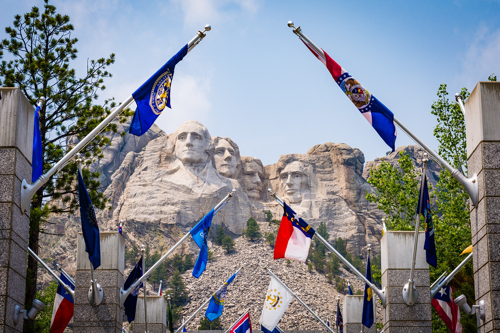 Mount Rushmore National Memorial in the Black Hills of South Dakota