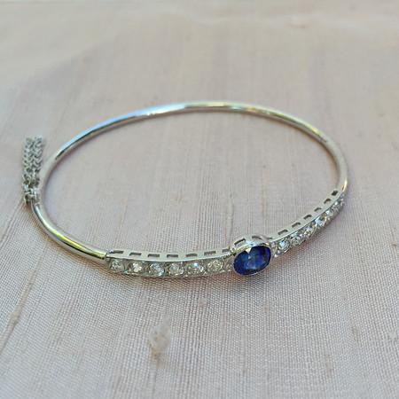 Old European Cut Diamond and Sapphire Pin to Bangle Conversion