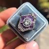 2.27ct (est) Art Deco Old European Cut Diamond with Amethyst Halo Ring 16