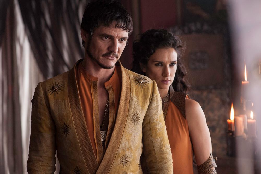 . Game of Thrones, Season 4: Pedro Pascal and Indira Varma. (Photo by Helen Sloan)