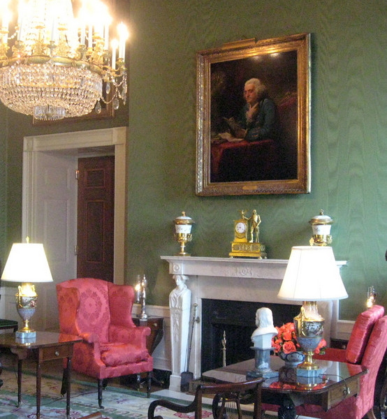 The Green Room--portrait of Benjamin Franklin.