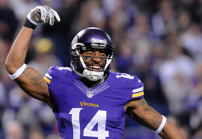 . Minnesota Vikings wide receiver Joe Webb celebrates the second to last play of the game. (Pioneer Press: Sherri LaRose-Chiglo)