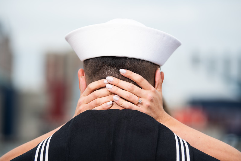 Anna & Brian Engagement Session / Location: Baltimore Inner Harbor / Detail Shot: Ring Shot + Navy Uniform