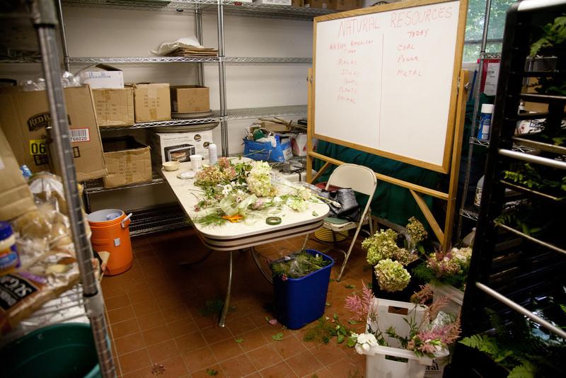 Prep area for the table flower arrangements
