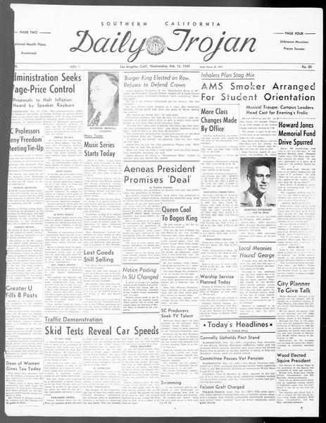 Daily Trojan, Vol. 40, No. 80, February 16, 1949