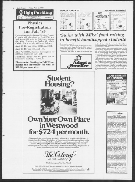 Daily Trojan, Vol. 98, No. 58, April 12, 1985