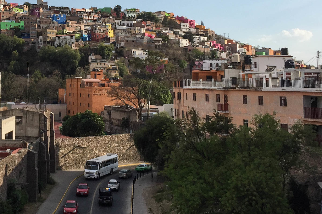 View of a Hillside in Guanajuato, Mexico and a Local Bus