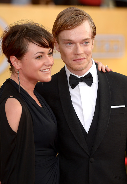 . Jaime Winstone and Alfie Allen  arrives at the 20th Annual Screen Actors Guild Awards  at the Shrine Auditorium in Los Angeles, California on Saturday January 18, 2014 (Photo by Michael Owen Baker / Los Angeles Daily News)