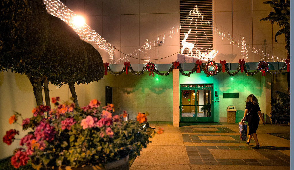 . Christmas lights at the Whittier Square building on Penn Street in Whittier, Calif. Dec. 18, 2013.   (Staff photo by Leo Jarzomb/Whittier Daily News)