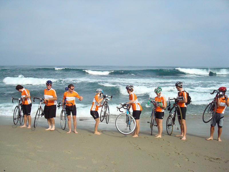 2008 06-16 8:28AM - FCH Bike Adventure Riders Dip Rear Wheels in the Pacific. ri