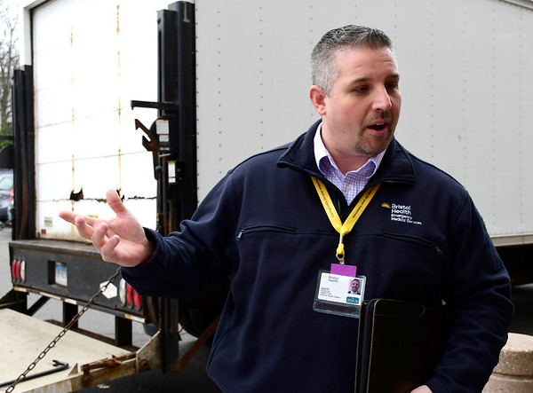 3/25/2020 Mike Orazzi | Staff Bristol Hospital Director of EMS & Public Safety talks about a tent being set up outside the emergency room entrance that will be used to triage COVID-19 patients.