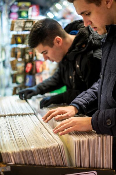 Shopping for vinyl records, Camden, London, United Kingdom
