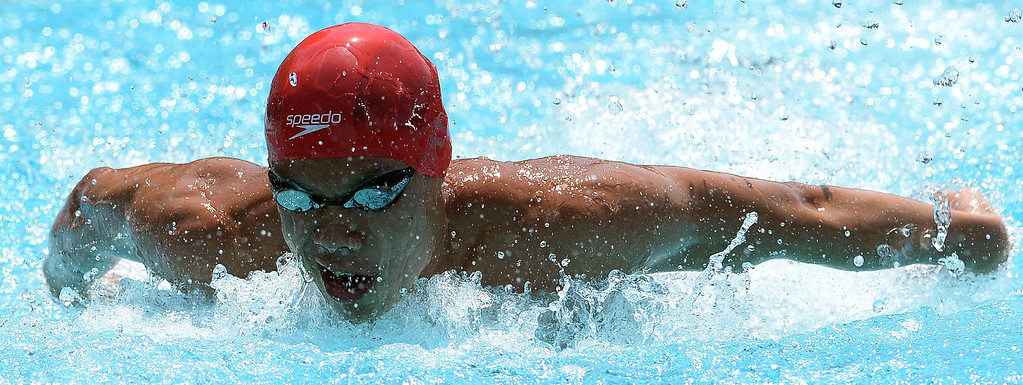 . Mark Keppel\'s Justin Chiu competes in the 100 yard butterfly during the Division 2 CIF Southern Section Swimming Championships in the Riverside Aquatics Complex at Riverside City College in Riverside, Calif., on Saturday, May 17, 2014.  (Keith Birmingham/Pasadena Star-News)